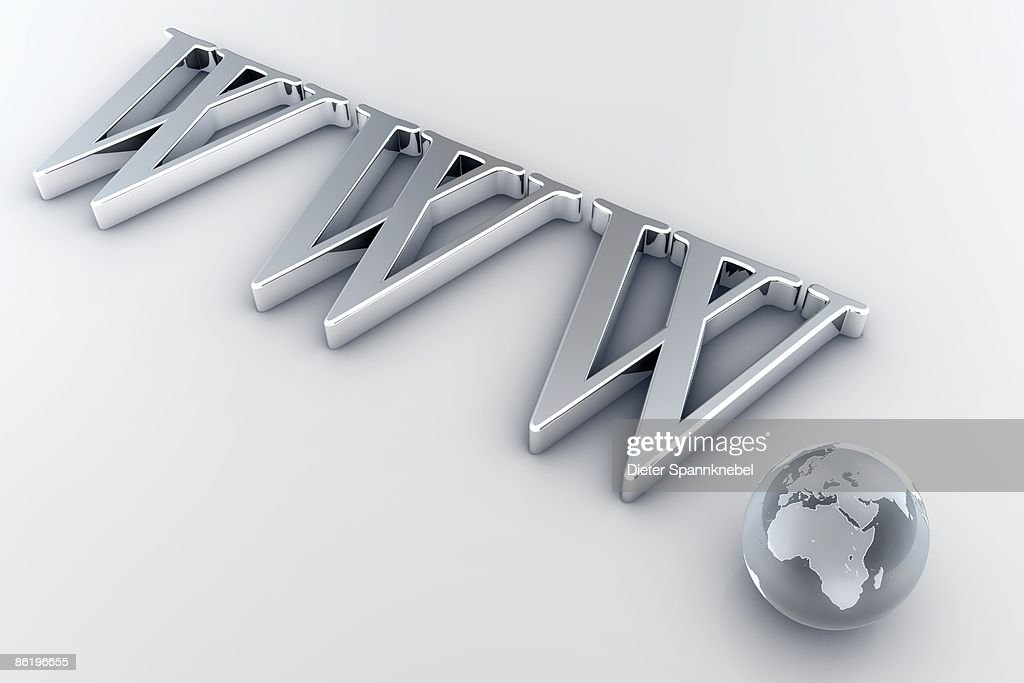 Globe shows Europe and Africa as a dot of www : Stock Illustration