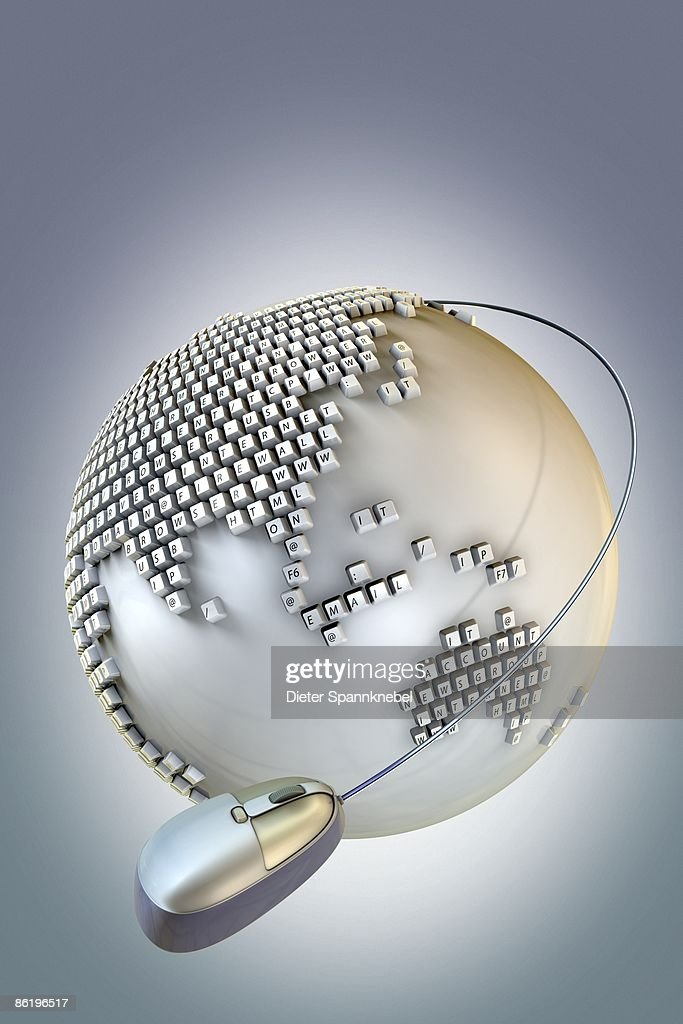 Globe with keyboard buttons showing Internet terms : Stock Illustration