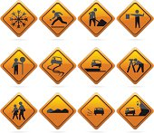 12 glossy driving signs. The highlights are on one layer if a flat look is prefered. The signs have not been flattened and are broken up into layers for easy editing.