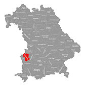 Günzburg county red highlighted in map of Bavaria Germany