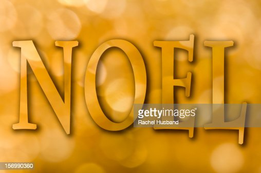 Gold bokeh background with the word 'Noel' : Stock Illustration