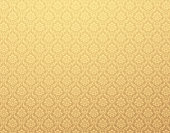 Gold damask wallpaper with floral patterns