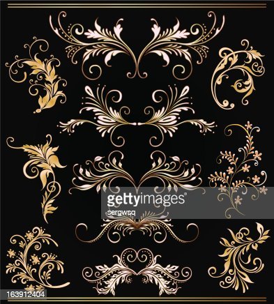 gold ornament flowers collection : Vector Art