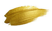 Gold paint brush stroke. Abstract gold glittering textured art illustration.