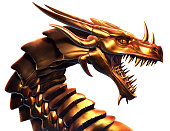 Digitally painted illustration of  a Golden Dragon. Painting and concept design by me.