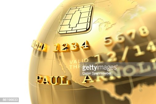 Golden globe in Design of a credit card with chip : Stock Illustration