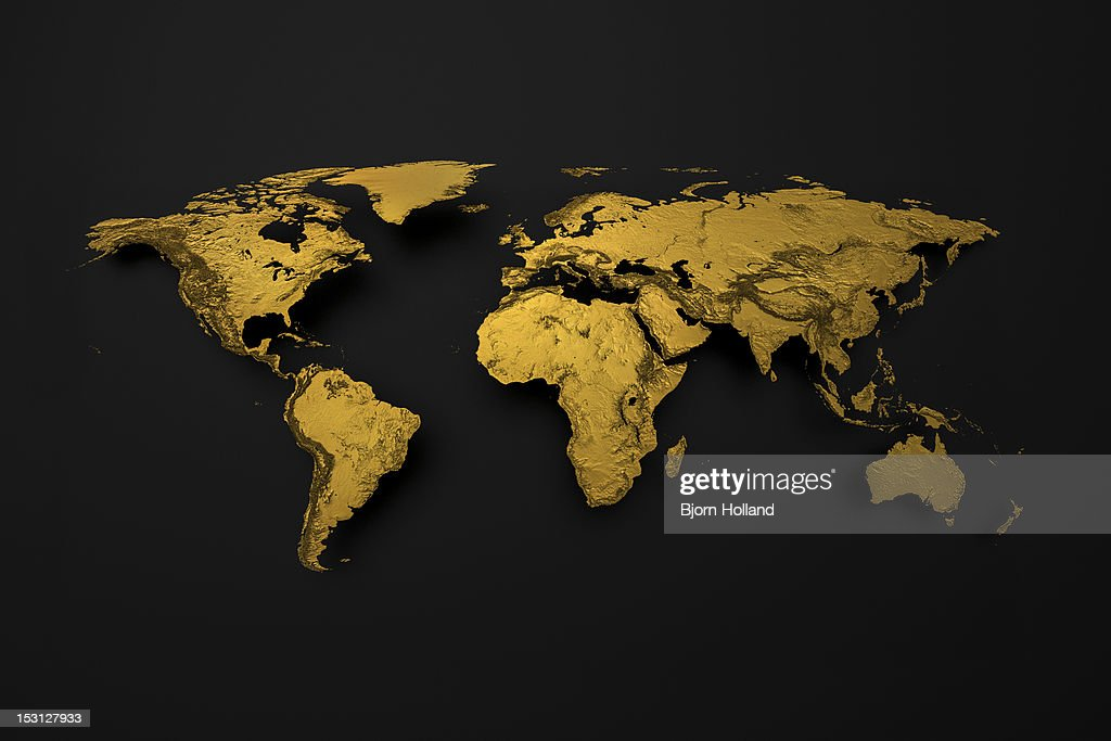 Golden Map of Earth with detailed topography : Stock Illustration