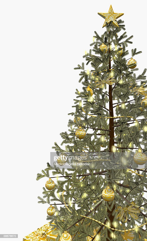 Golden ornaments on a Christmas tree : Stock Illustration