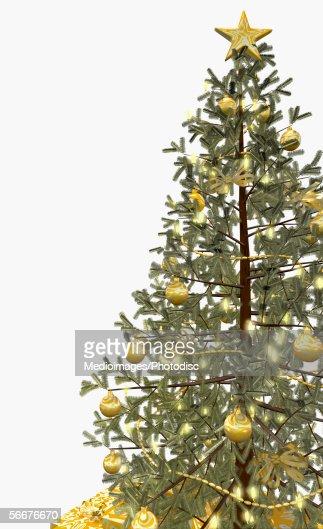 Golden ornaments on a Christmas tree : Stock Illustration
