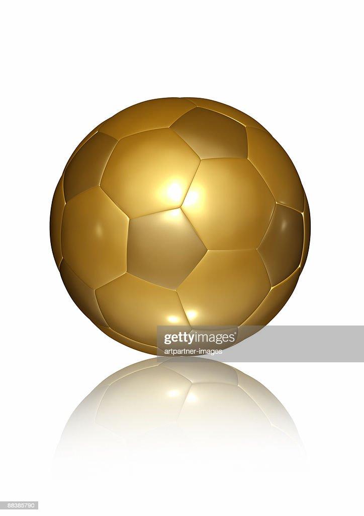 Golden Soccer Ball on white Background : Stock Illustration