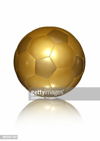 Golden Soccer Ball on white Background : Stock Illustration