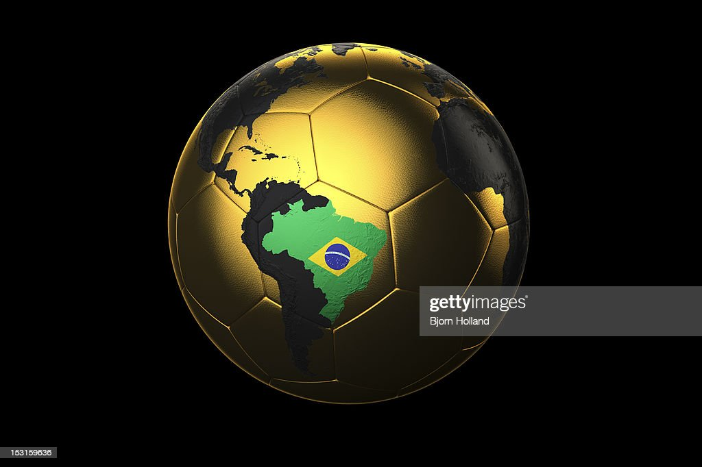 Golden Soccer Ball with Brazilian flag : Stock Illustration