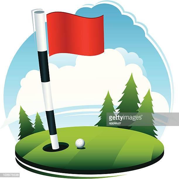 Golf Ball at Hole Scene