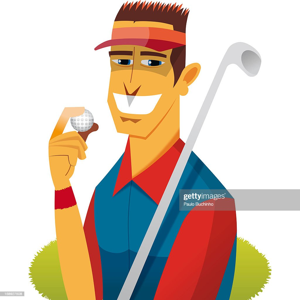 A golfer holding a golf club and golf ball : Stock Illustration