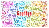 Goodbye in different languages word cloud illustration
