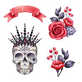 gothic Halloween clip art, floral skull watercolor illustration, rose flowers, autumn holiday  clip art isolated on white background