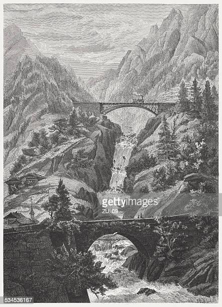 Gotthard Railway: Crossing of the Rohrbach near Wattingen, published 1882