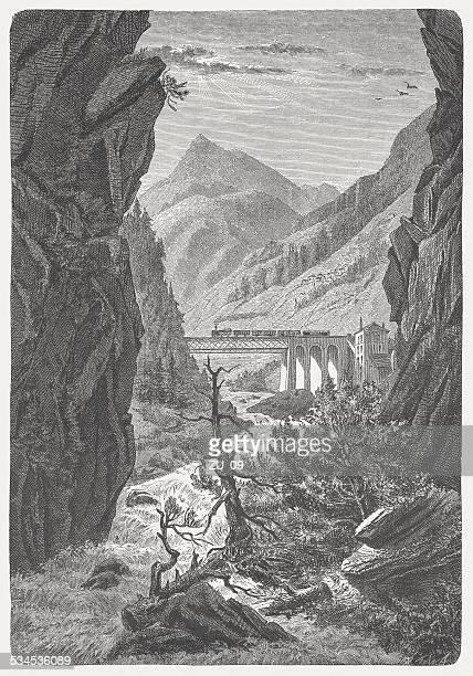 Gotthard Railway: Crossing of the Ticino river near Stalvedro, 1882