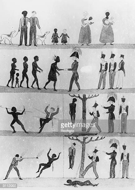 Governor Davey's proclamation of mutual friendship and justice printed in easily understood pictures for illiterate Aborigines The first strip means...