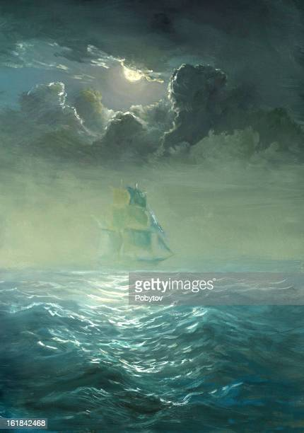 Grand ship sailing on stormy waters