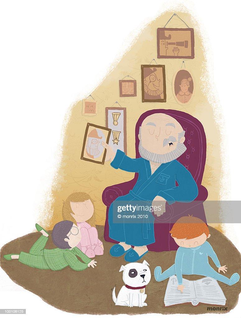 Grandfather telling story : Ilustración de stock