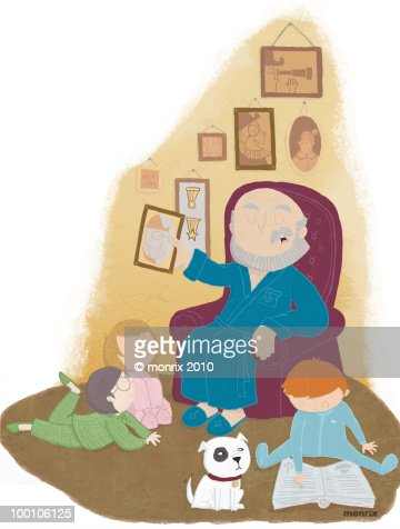 Grandfather telling story : Stock Illustration