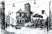 Graphic drawing, illustration. European vew. Street in Rome.