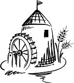 Graphic vector Illustration -- Water Mill