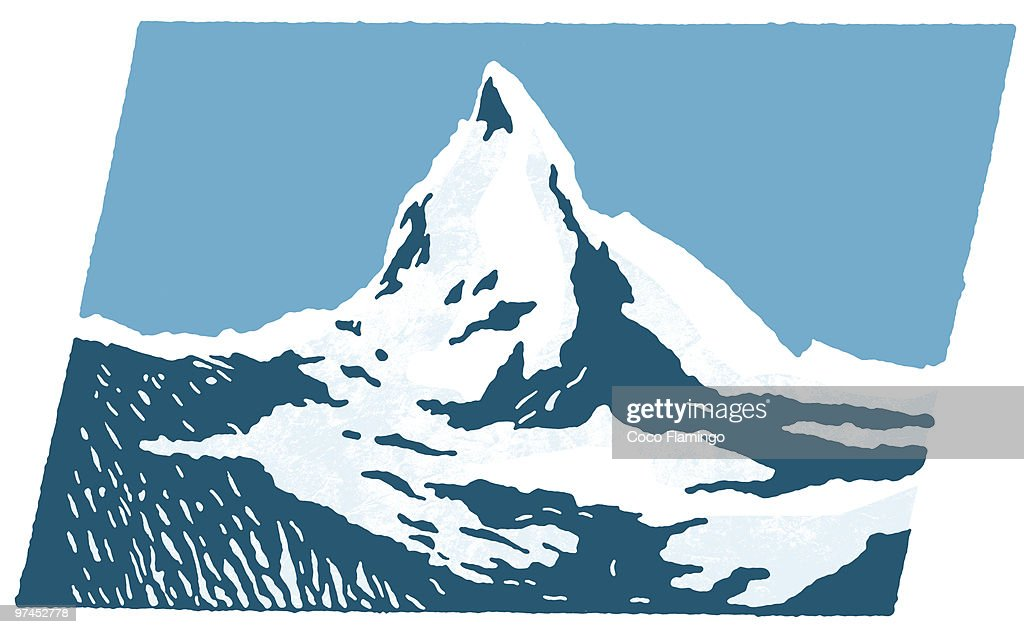A graphical print of snow capped mountains : Stock Illustration