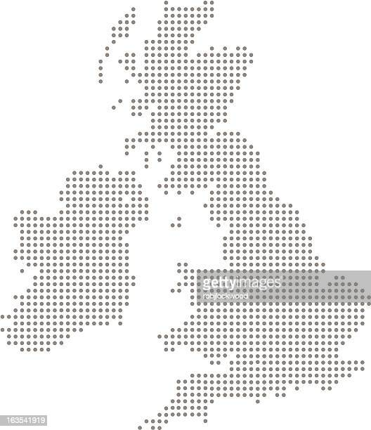 Great Britain and Ireland Dot Map (vector)
