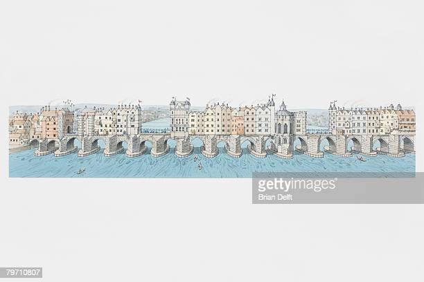 Great Britain, England, London, panoramic view of London Bridge circa 1550