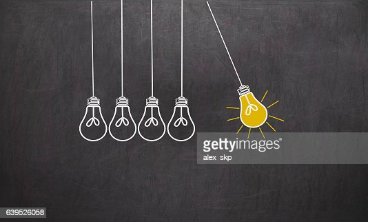 Great Idea. Creativity Concept with light bulbs on chalkboard : Stock Illustration