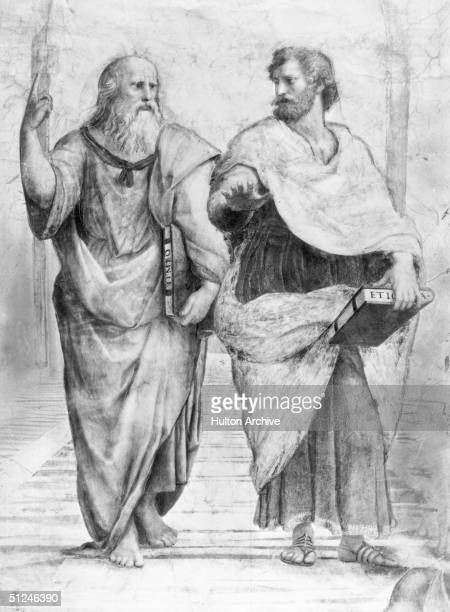 350 BC Greek philosopher Plato Aristocles with the philosopher and scientist Aristotle Original Publication From Raphael School of Athens Vatican...