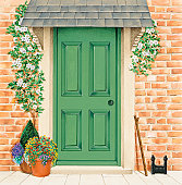 Green front door with climbers around frame, and potted plants