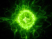 Green glowing fireball lightning , computer generated abstract background, 3D rendering