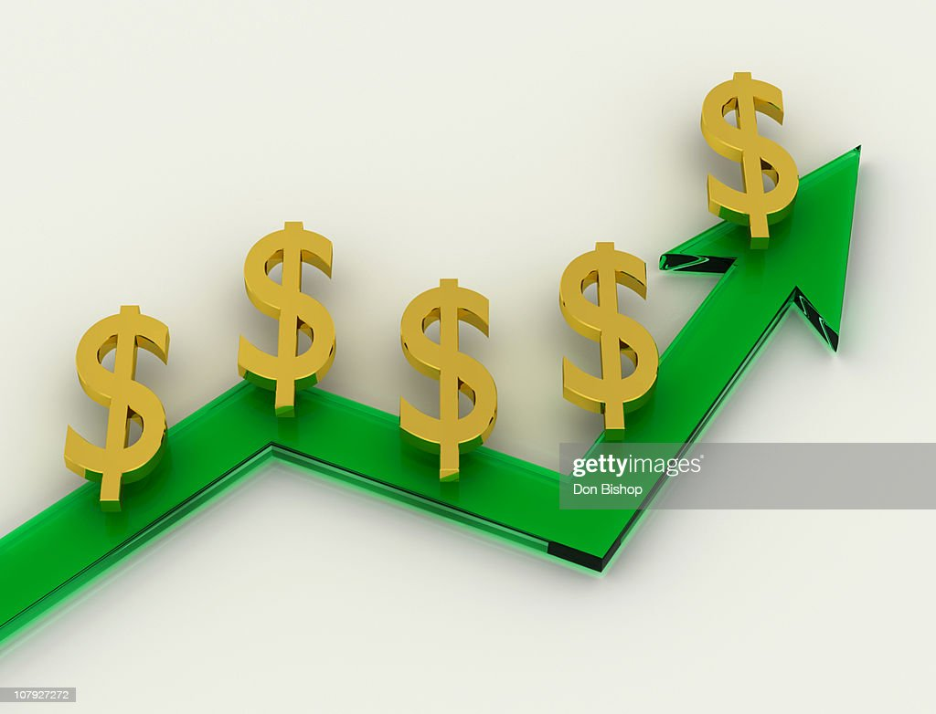 Green growth chart with money symbols : Stock Illustration