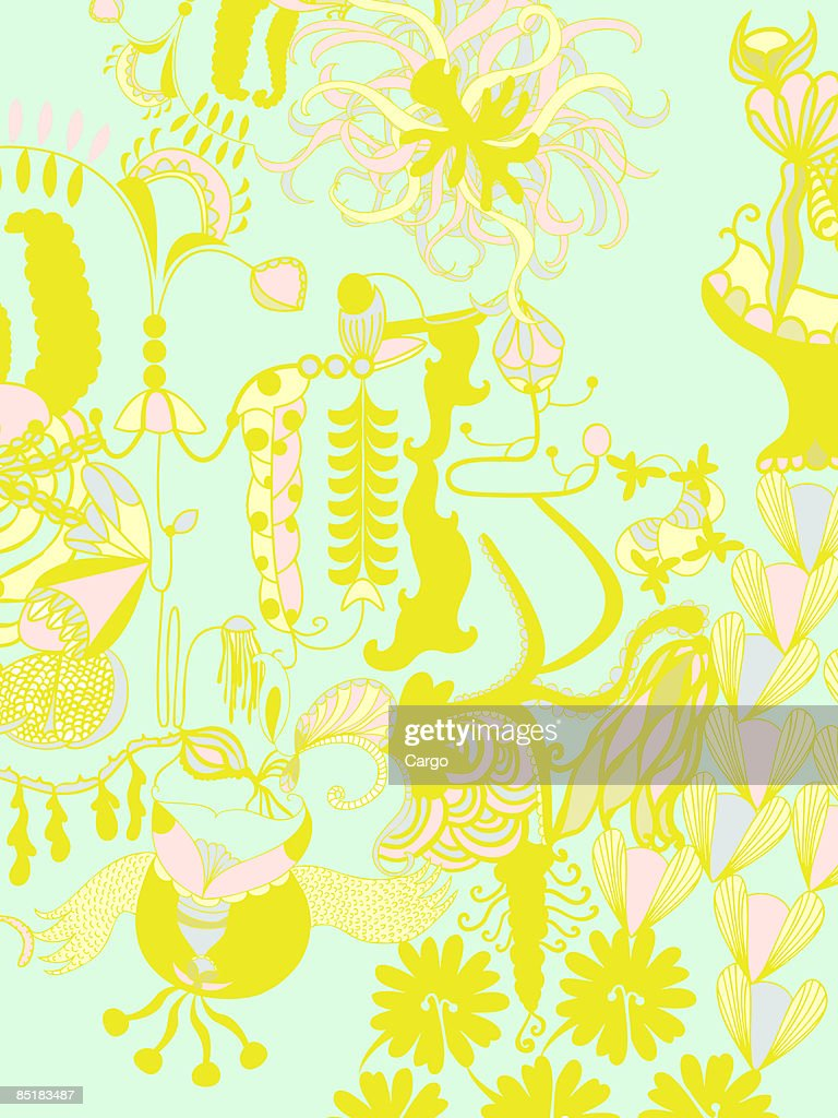 A green, yellow and pink floral design background : Stock Illustration