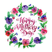 Greeting card Happy Mother's Day with pansy flowers wreath on textured paper. Watercolor card with lettering Happy Mother's Day.