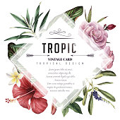 Greeting card with tropical flowers, watercolor, can be used as invitation card for wedding, birthday and other holiday and summer background