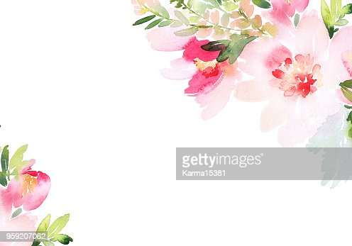 Greeting card with watercolor flowers handmade : stock illustration