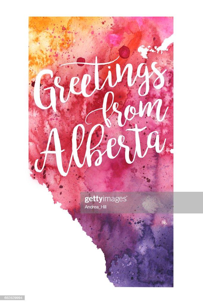 Greetings from Alberta Watercolor Map : Stock Illustration