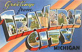 Greetings from Traverse City Michigan large letter vintage postcard