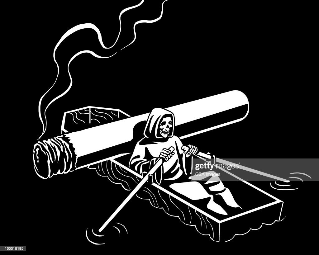 Grim Reaper Rowing a Casket Boat : Stock Illustration
