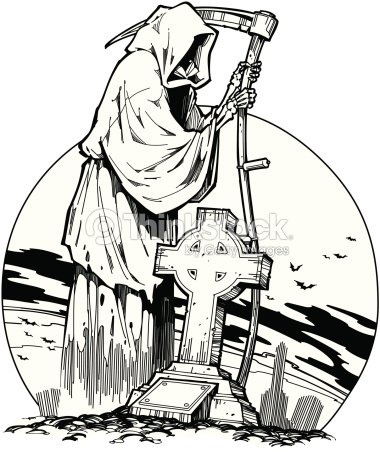 grim reaper standing in cemetery by headstone layered also available in color 029c9806 the end