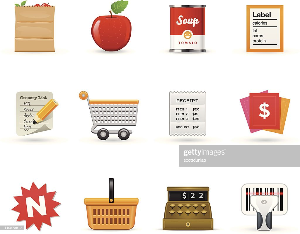Grocery Icons      Satin Series : Vector Art