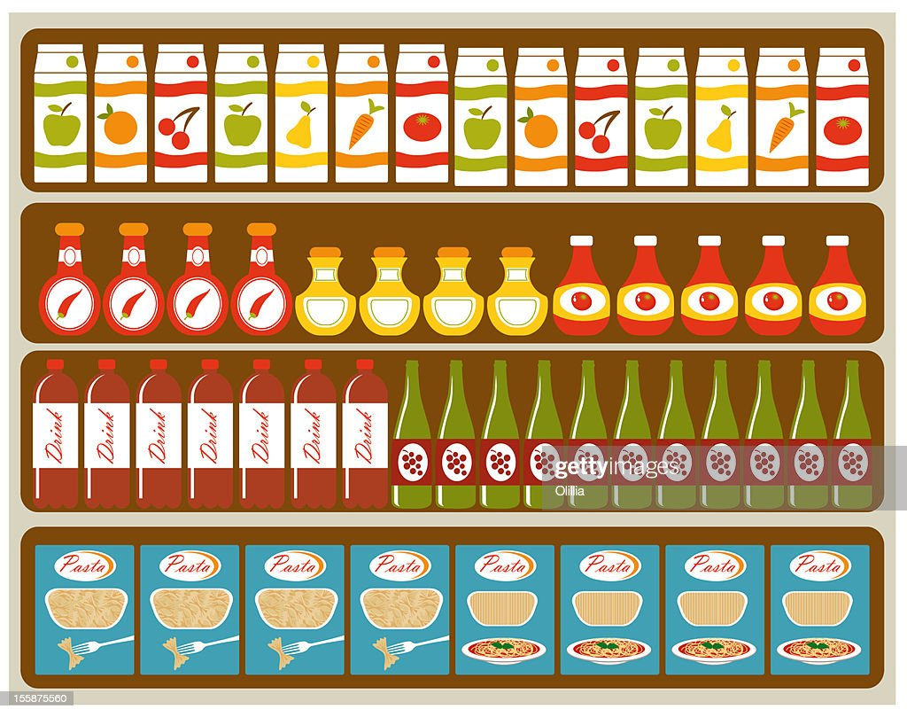 Grocery store shelves : Stock Illustration