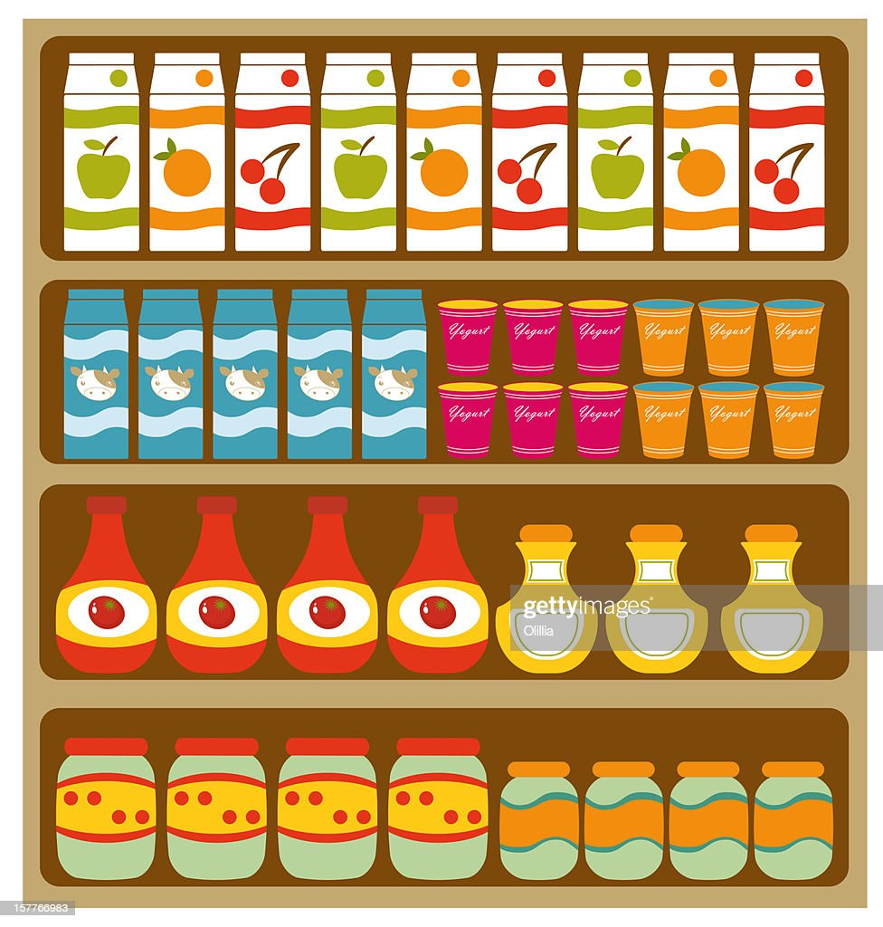 Grocery store shelves : Stock Illustration