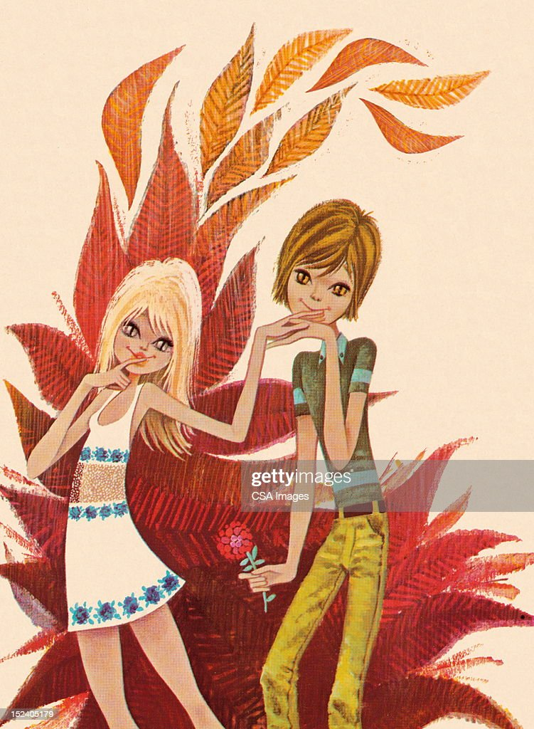Groovy Couple With Cat Eyes : Stock Illustration