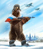 Grotesque (caricature) character. Furious bear with a kalashnikov assault rifle  is wearing a soldier cap. Comic image of Russia and the USSR. Propaganda cliche.