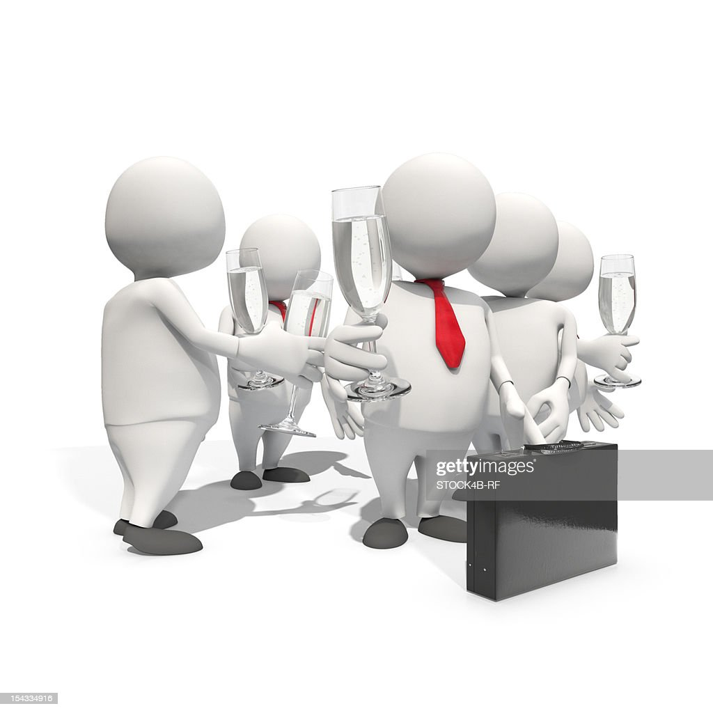 Group of anthropomorphic businessmen toasting with champagne glasses, CGI : Stock Illustration